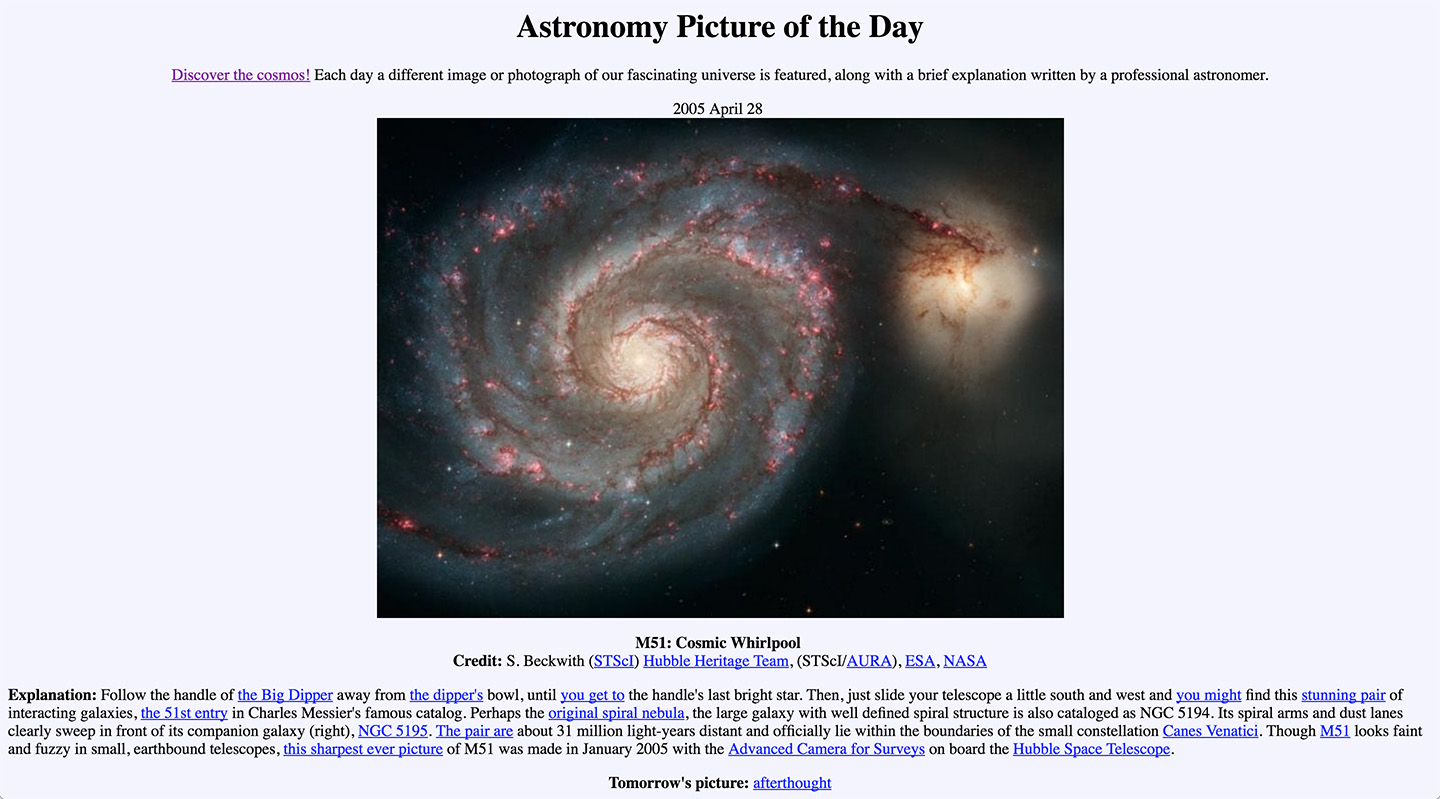 The original Astornomy Picture of the Day on NASA's website.