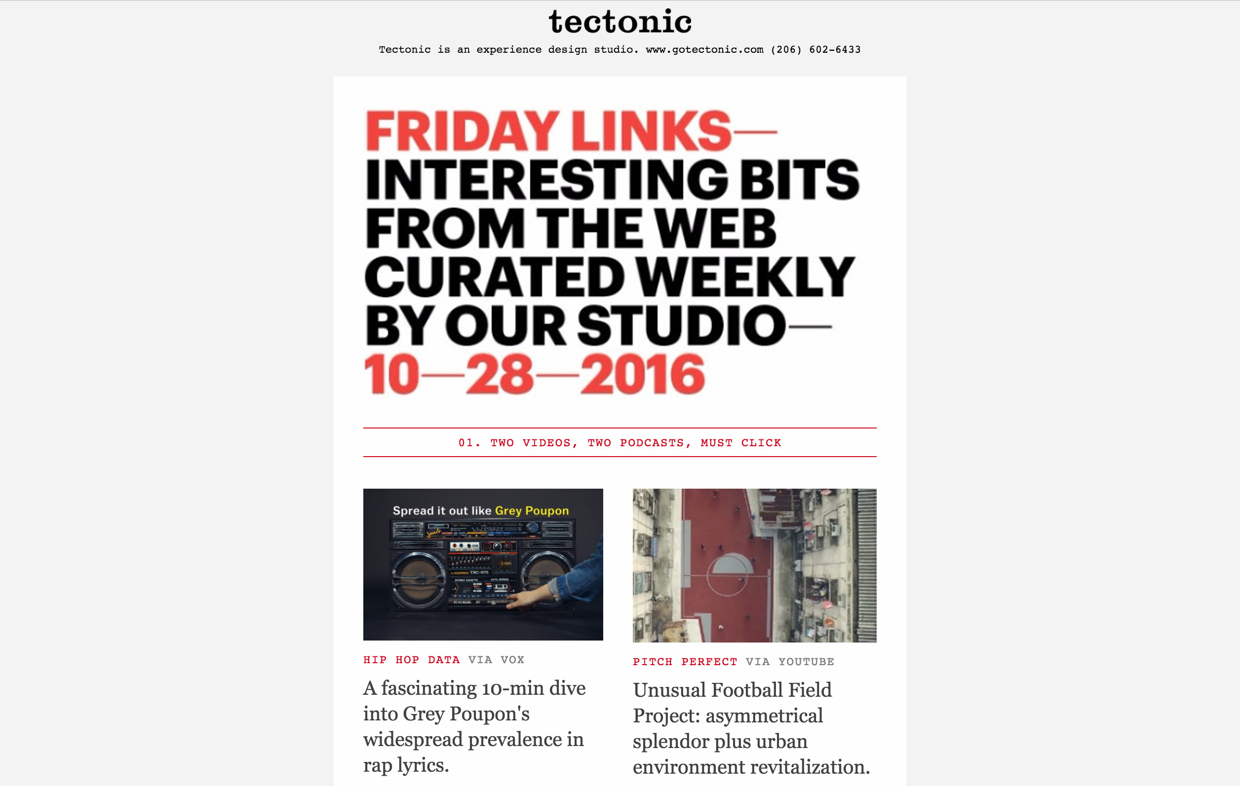 Tectonic Newsletter Email